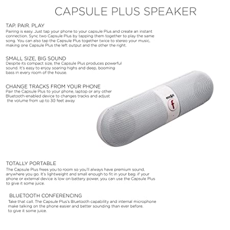 Essot Bluetooth Speakers Portable wireless surround sound speaker,Stereo  speaker,High Definition Audio, Built-in Microphone The pill car outdoors