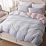 """PURE ERA 条纹被套套装 针织棉超软舒适拉链奢华床上用品 3 件套(1 件羽绒被套 + 2 件枕套)带角领带 Grey White & Pink Queen Size: 90""""x90"""" 43237-2"""