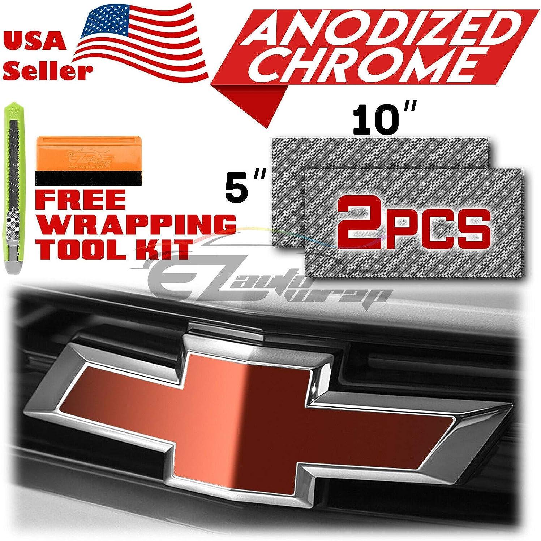EZAUTOWRAP Free Tool Kit 2Pcs 5x10 Chevy Emblem Bowtie Pink Anodized Chrome Vinyl Wrap Sticker Decal Film Overlay Sheet