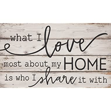 P. Graham Dunn What I Love Most About My Home White Wash 24 x 14 Inch Solid Pine Wood Pallet Wall Plaque Sign