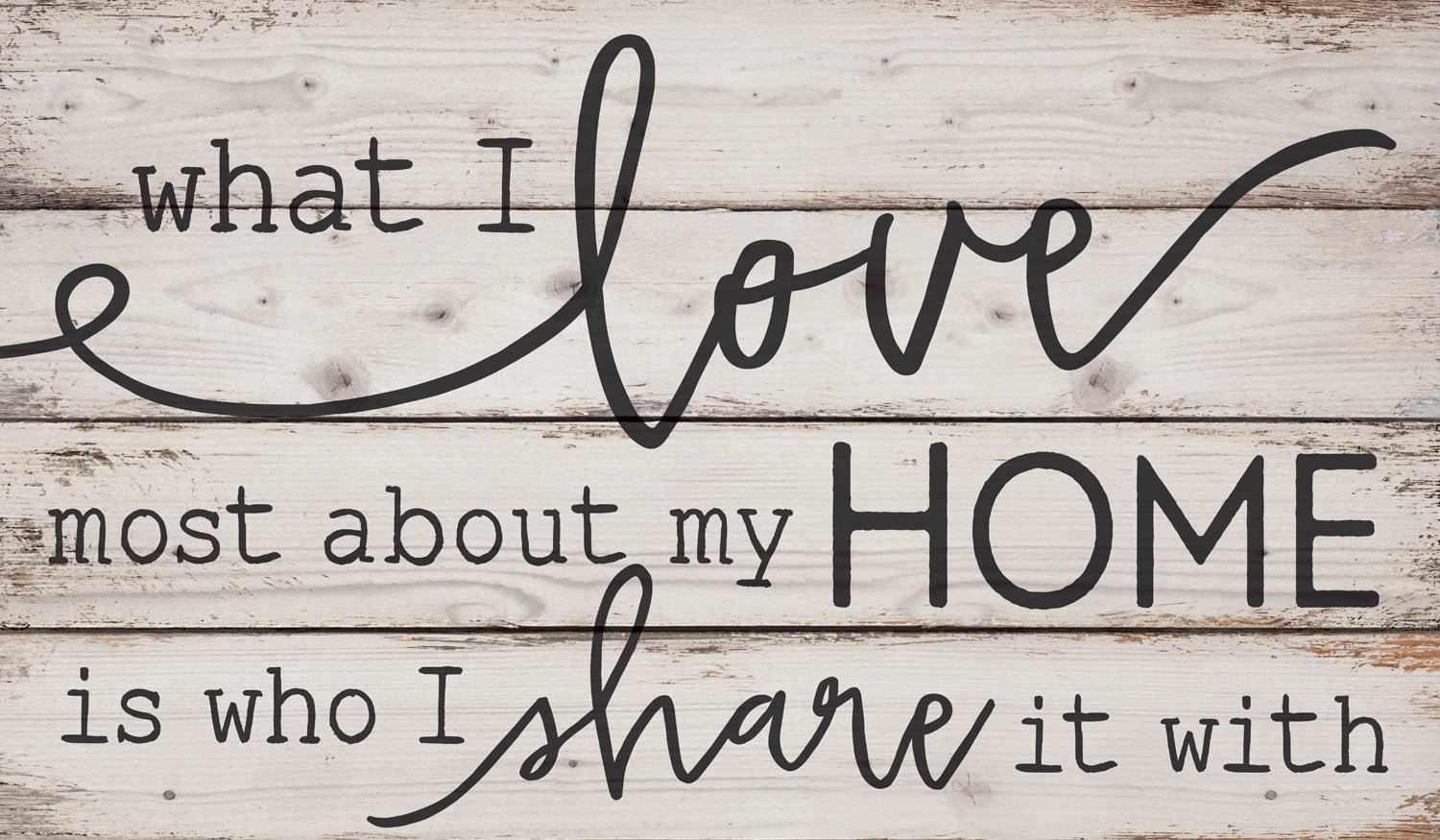 CDM product P. Graham Dunn What I Love Most About My Home White Wash 24 x 14 Inch Solid Pine Wood Pallet Wall Plaque Sign big image