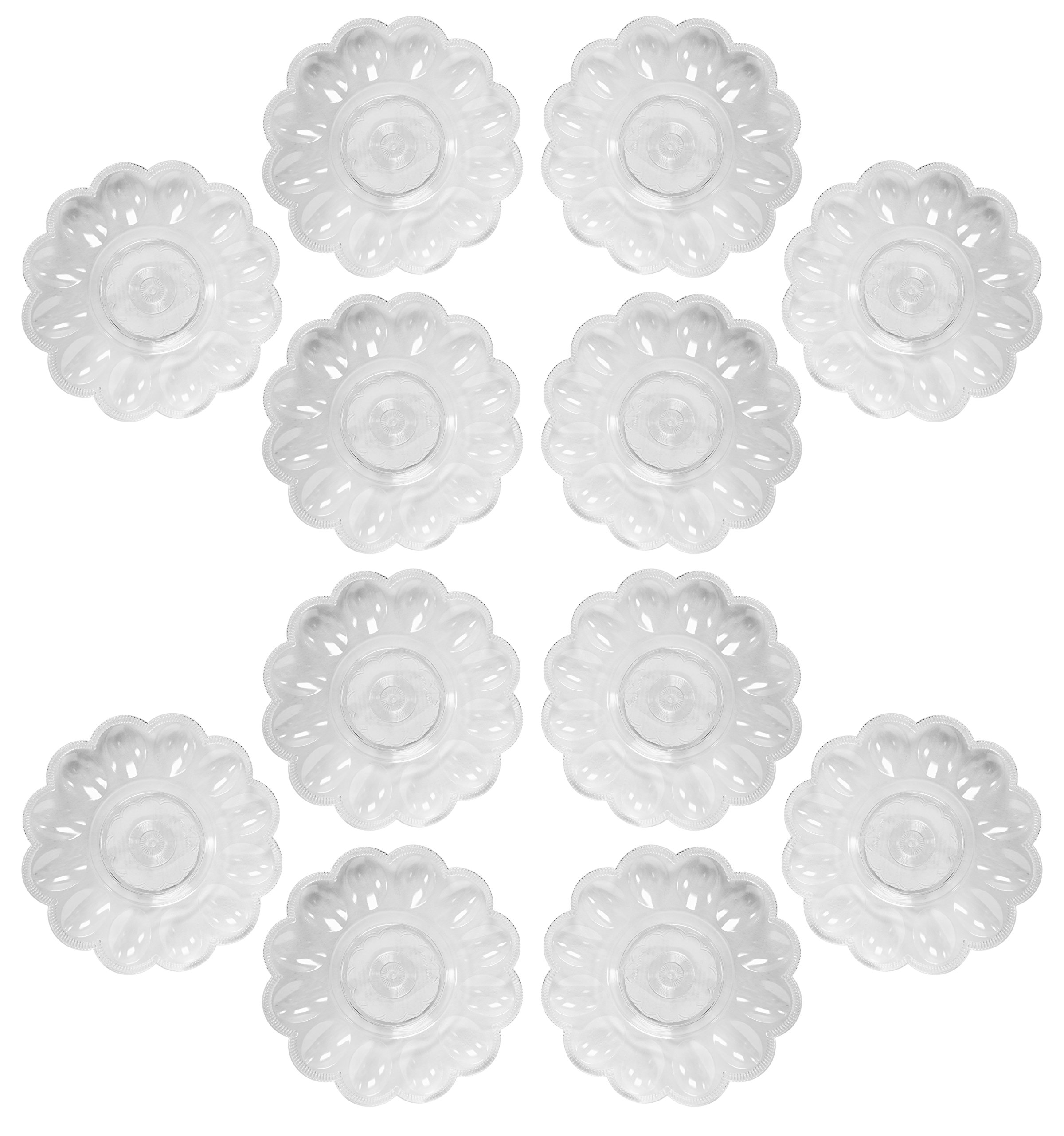 Deviled Egg Crystal Clear 9.5'' Diameter Presence Serving Trays! Perfect for Any Party or Social Gathering! (12)