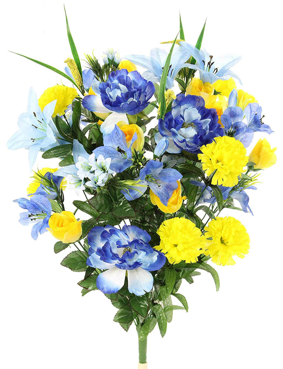 Admired By Nature ABN1B001-BL/YW 40 Stems Artificial Full Blooming Lily, Rose Bud, Carnation and Mum with Greenery Mixed Flower Bush, Blue/Yellow, BL/YW
