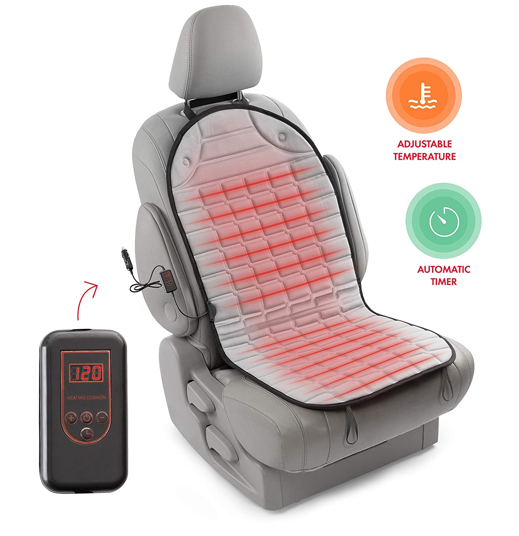 Zento Deals Se41 12 V Gris chaud Coussin chauffant de voiture Housse de siè ge LEPAZA2500