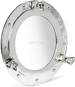 "Nagina International 12"" Nautical Nickel Plated Premium Ship's Porthole Mirror | Maritime Wall Decor Plane Mirror"