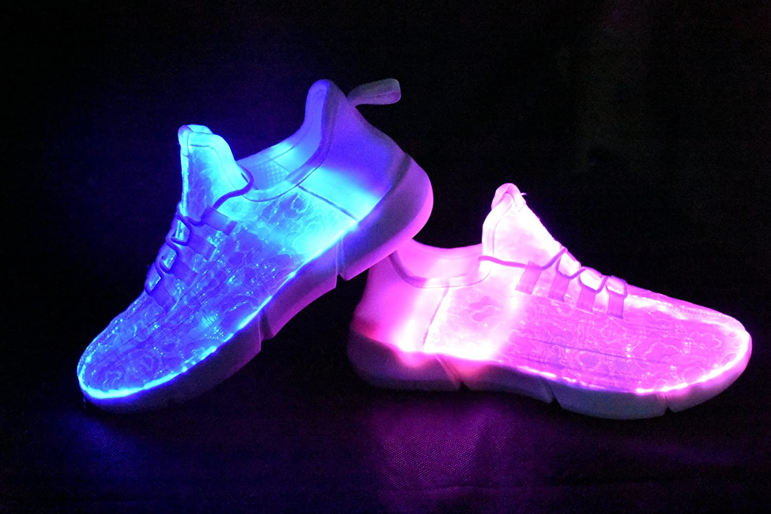 ROXY ROSE Fiber-Optic Light Shoes White LED Flashing Sneakers for Kids & Women Festivals Running Shoes B078SQZRNQ 10 B(M) US|White