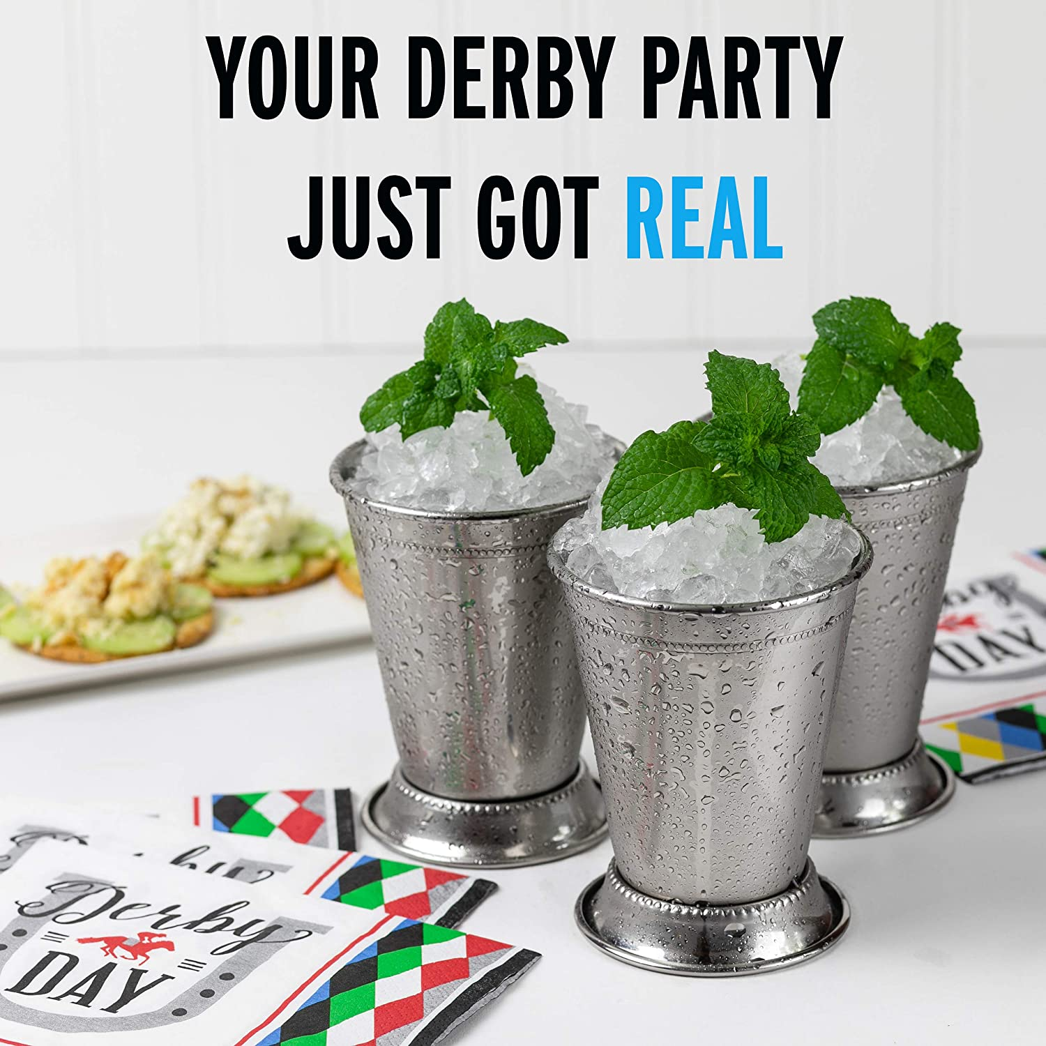 Derby Party Supplies Mint Julep Cups: Stainless Steel Kentucky Derby Glasses Set of 2 OR 4 Metal 12 oz Cocktail Glasses