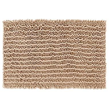 Yimobra Original Luxury Shaggy Bath Mat Large Size 31.5 X 19.8 Inches Super Absorbent Water, Non-Slip, Machine-Washable, Soft and Cozy, Thick Modern for Bathroom, Bedroom, Floor, Beige