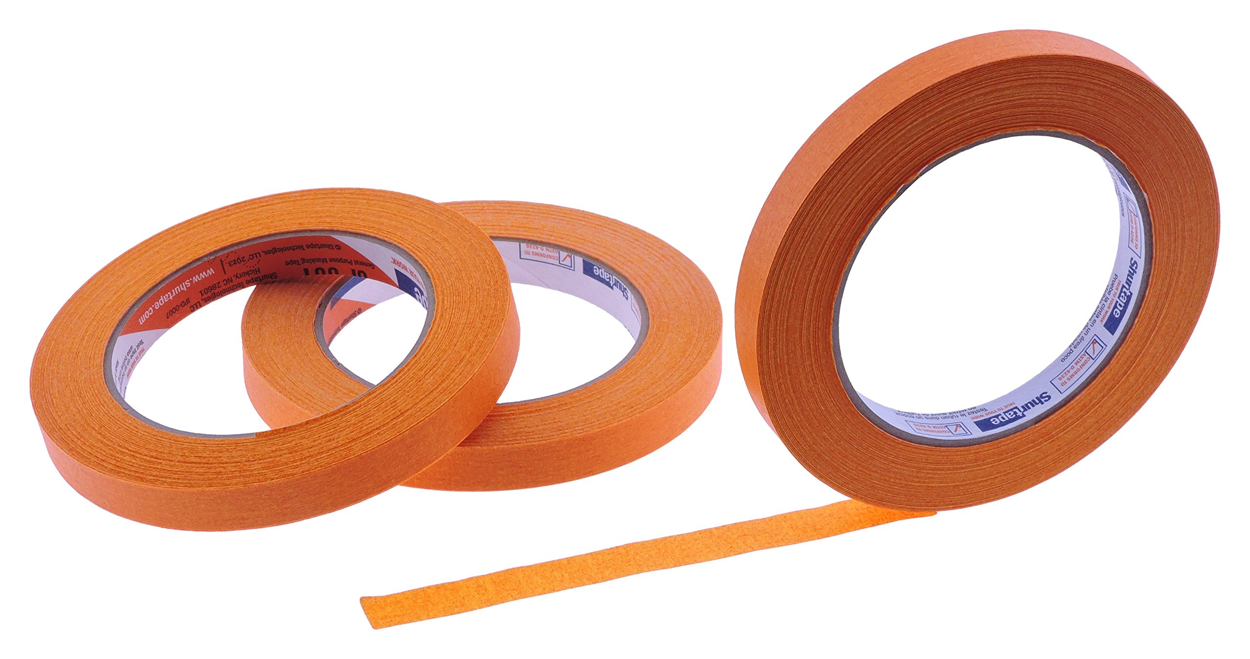 3pk 1/2'' in x 60yd Blaze Orange Masking Tape Extra Sticky PRO Grade High Stick Special Project Painters Tape Painting Trim Arts Crafts School Home Office 21 Days 12MM x 55M .5 inch Safety Tangerine