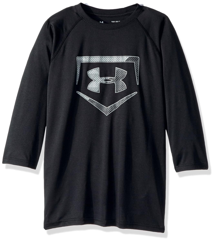 Under Armour Boys 'プレートアイコン3 / 4 Teeシャツ B01M6Z91PG Youth Large|ブラック/ブラック ブラック/ブラック Youth Large