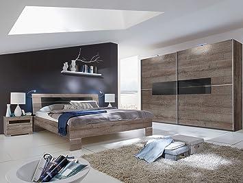 ALINA Schlafzimmer 4-teilig, 250 cm, 180 x 200 cm, Schlammeiche/Glas ...