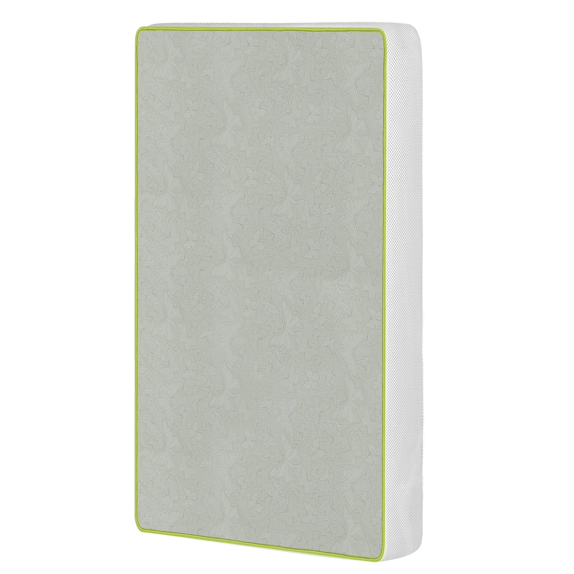 Dream On Me 2-in-1 Breathable Two-Sided Portable Crib Foam Mattress, White/Green by Dream On Me