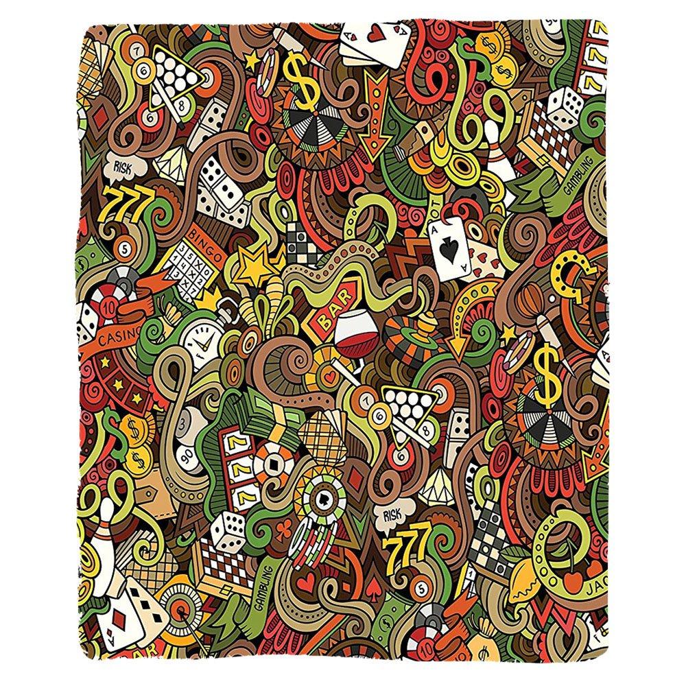 VROSELV Custom Blanket Casino Doodles Style Art Bingo Excitement Checkers King Tambourine Vegas Soft Fleece Throw Blanket by VROSELV