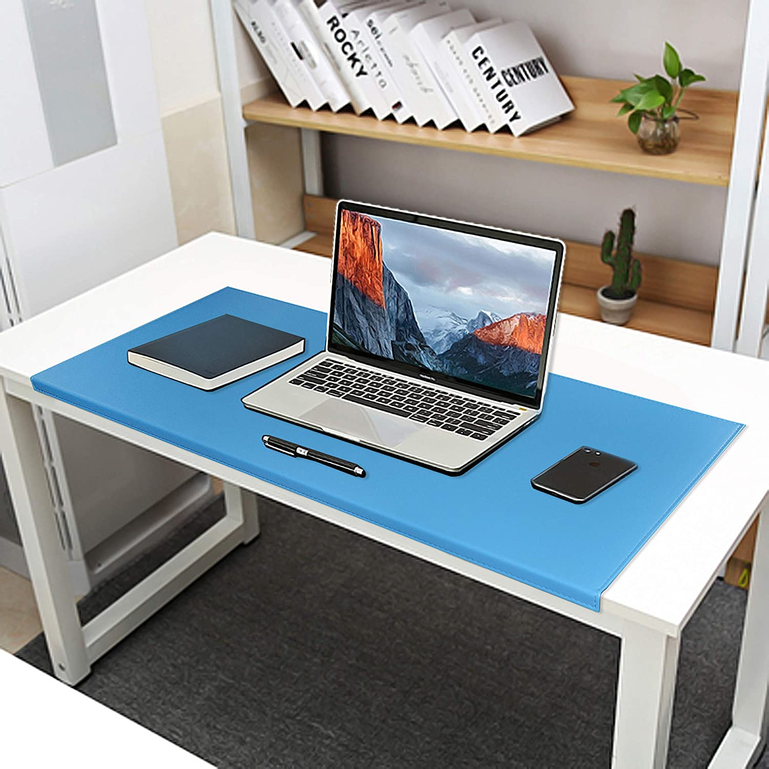 Non-Slip 35.4x 15.8 Soft Leather Surface Office Desk Mouse Mat Pad with Full Grip Fixation Lip Table Blotter Protector(Sky Blue