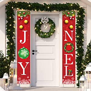 Dazonge Christmas Decorations Outdoor Indoor | Joy & Noel Christmas Porch Banners | Vertical 600D Fabric Xmas Door Signs | Rustic Christmas Decor for Home
