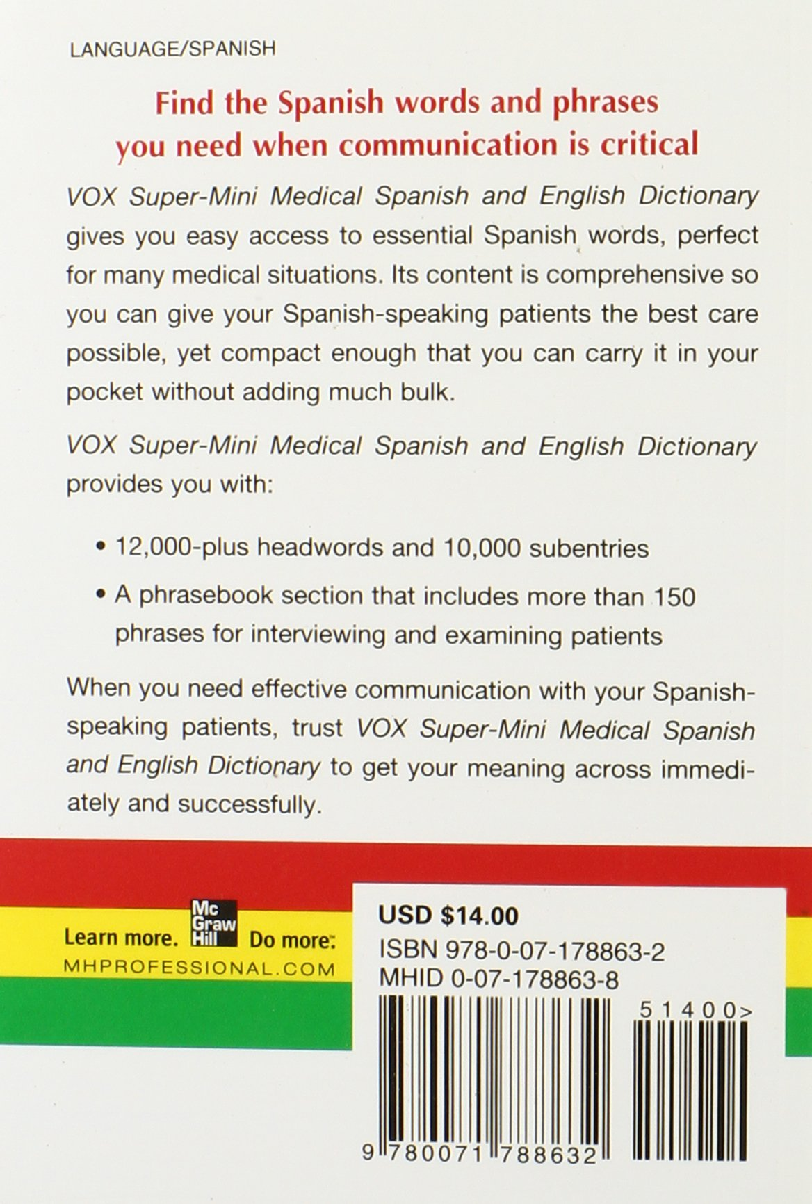 Vox Super-Mini Medical Spanish and English Dictionary (Vox Dicitonaries):  Amazon.co.uk: N/A Vox: 9780071788632: Books