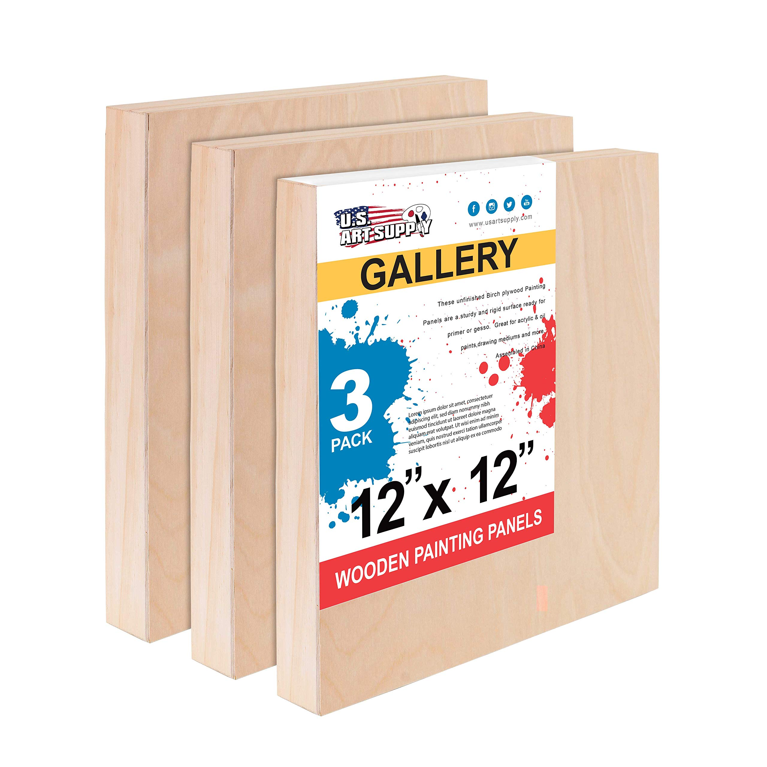U.S. Art Supply 12'' x 12'' Birch Wood Paint Pouring Panel Boards, Gallery 1-1/2'' Deep Cradle (Pack of 3) - Artist Depth Wooden Wall Canvases - Painting Mixed-Media Craft, Acrylic, Oil, Encaustic by U.S. Art Supply