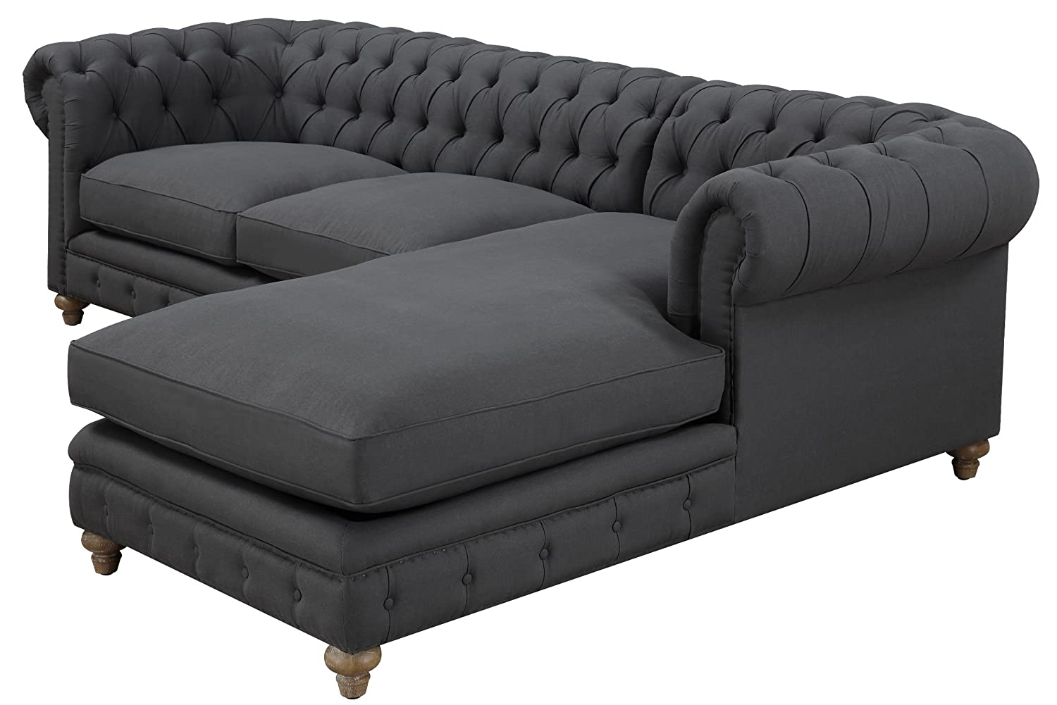Amazon.com TOV Furniture The Oxford Collection Modern Fabric Upholstered Sectional Furniture Sofa Couch With Right Arm Chaise For Living Room ...  sc 1 st  Amazon.com : tufted sectional - Sectionals, Sofas & Couches