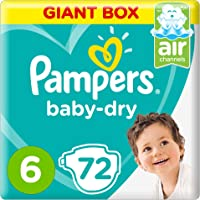 Pampers Baby-Dry Diapers, Size 6, Extra Large, 13+kg, 72 Count