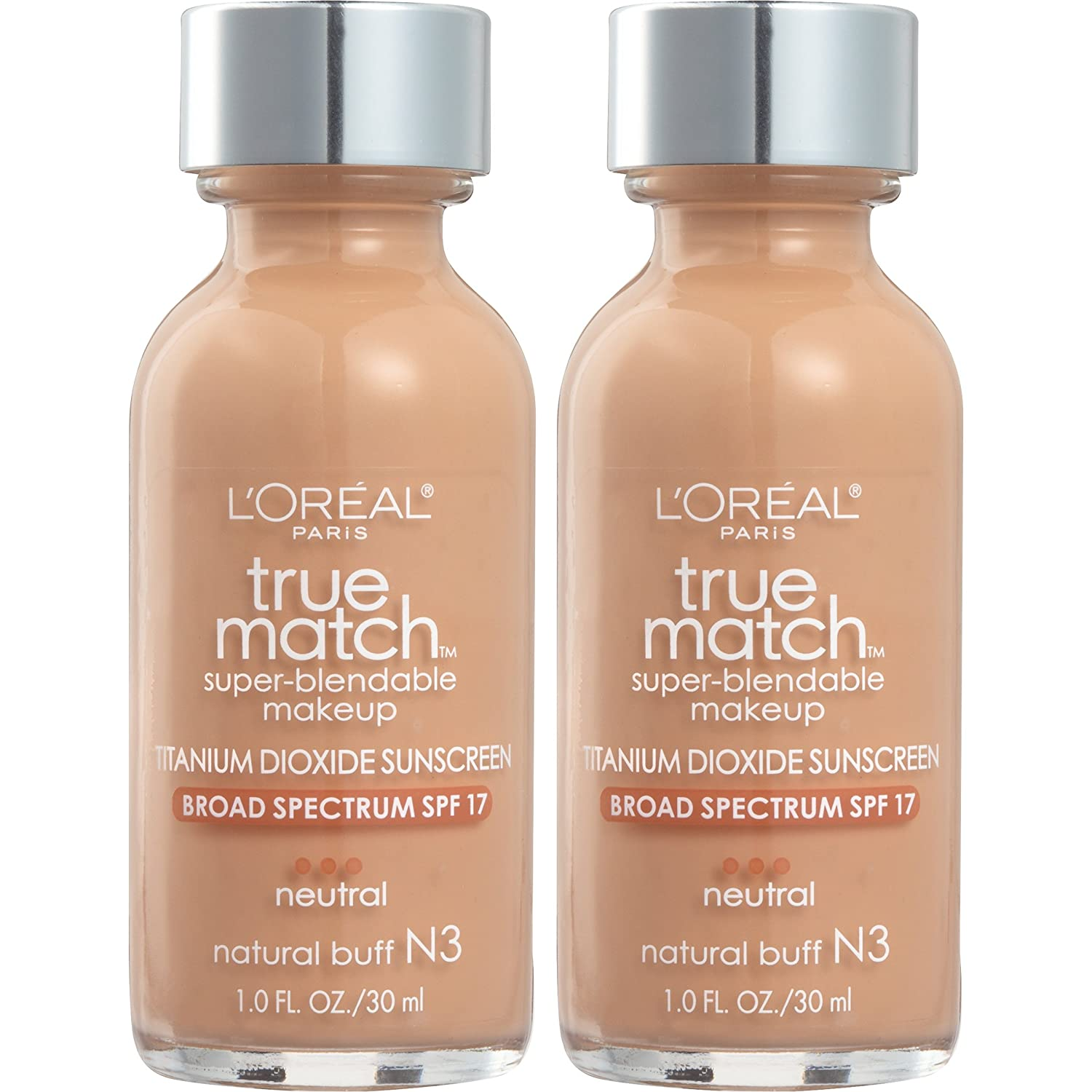 L'Oreal Paris Cosmetics True Match Super-Blendable Foundation Makeup, Natural Buff N3, 2 Count