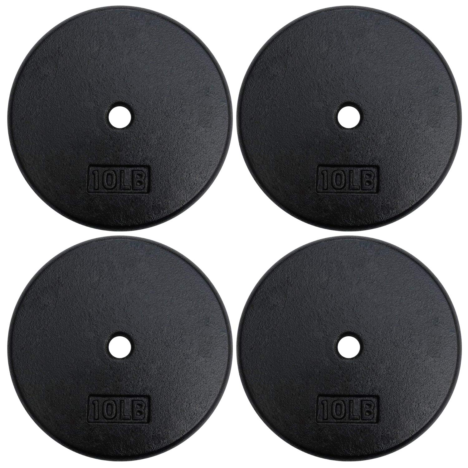 A2ZCARE Standard Cast Iron Weight Plates 1-Inch Center-Hole for Dumbbells, Standard Barbell 10, 15, 20, 25 lbs (Single and Pair) (10 lbs - Set of 4)