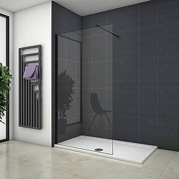 Mamparas de Ducha Pantalla Panel Fijo Perfil Negro Cristal Antical 8mm Barra 70-120cm - 110x200cm: Amazon.es: Bricolaje y herramientas