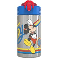 Zak Designs Disney 18/8 Stainless Steel Kids Water Bottle with Flip-up Straw Locking Spout Cover, Durable Cup for Sports…