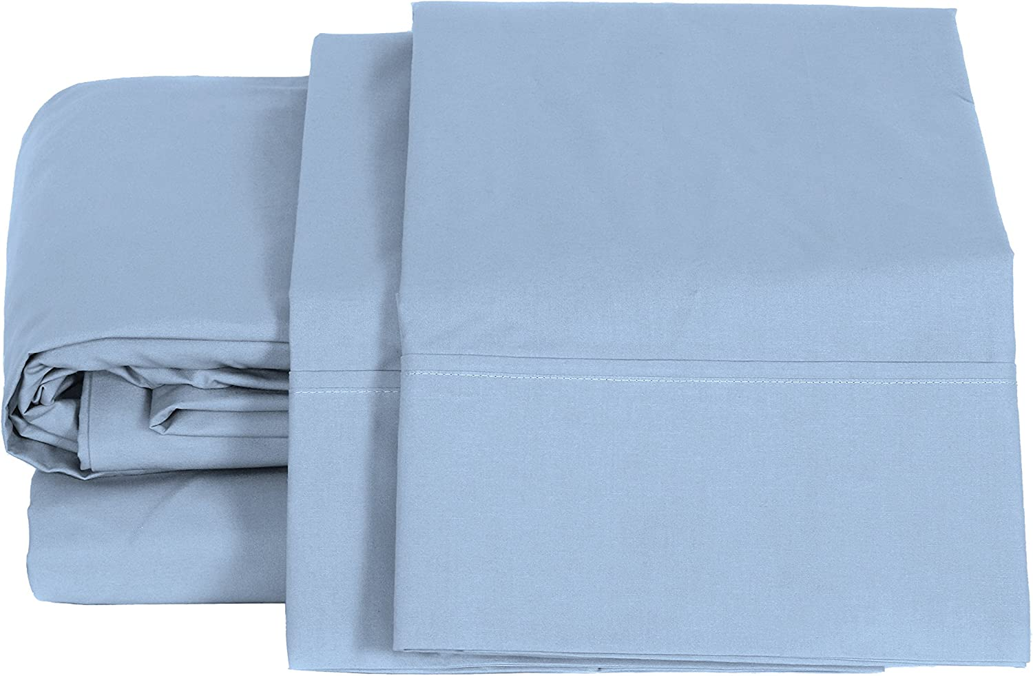 1 Deep Pocket Fitted Sheet and 2 Pillowcases Baby Blue Crisp and Strong Bed Linen 100/% Cotton Percale Sheets Full Size 4 Piece Deep Pocket 1 Flat