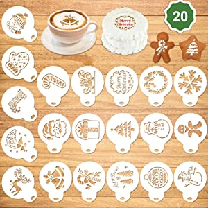 Konsait 20Pack Christmas Cake Stencil Templates Decoration, Reusable Christmas Cake Cookies Baking Painting Mold Tools, Dessert, Coffee Decorating Molds