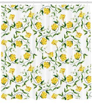 Amazon Ambesonne Yellow Flower Shower Curtain Romantic
