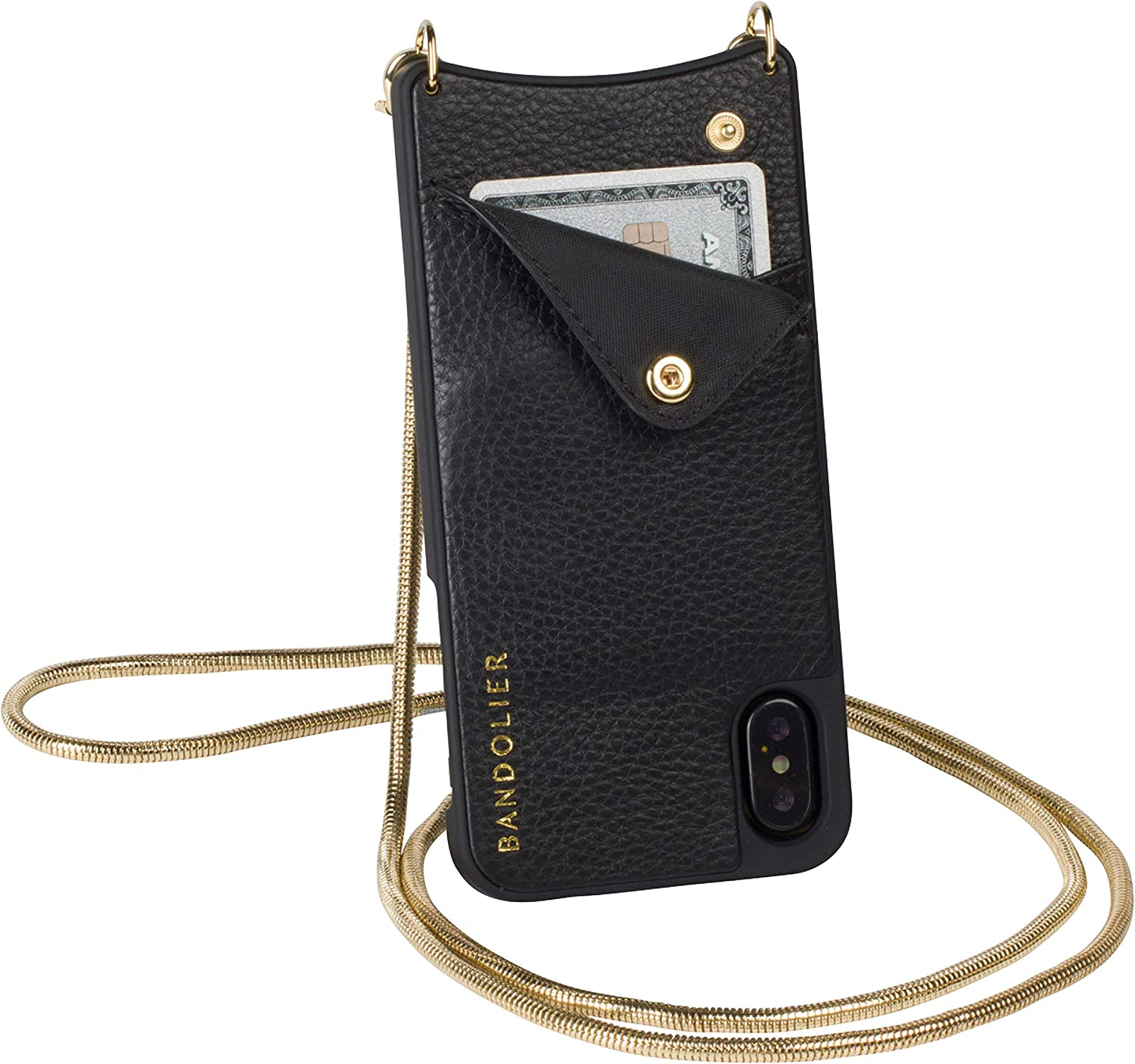 Bandolier Belinda Crossbody Phone Case and Wallet - Black Leather with Gold Detail - Compatible with iPhone X & XS Only