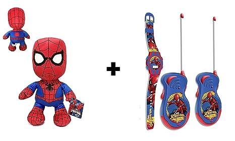 Spiderman - Pack Peluche Spiderman 30cm Calidad super soft + Reloj digital & Walkie Talkies