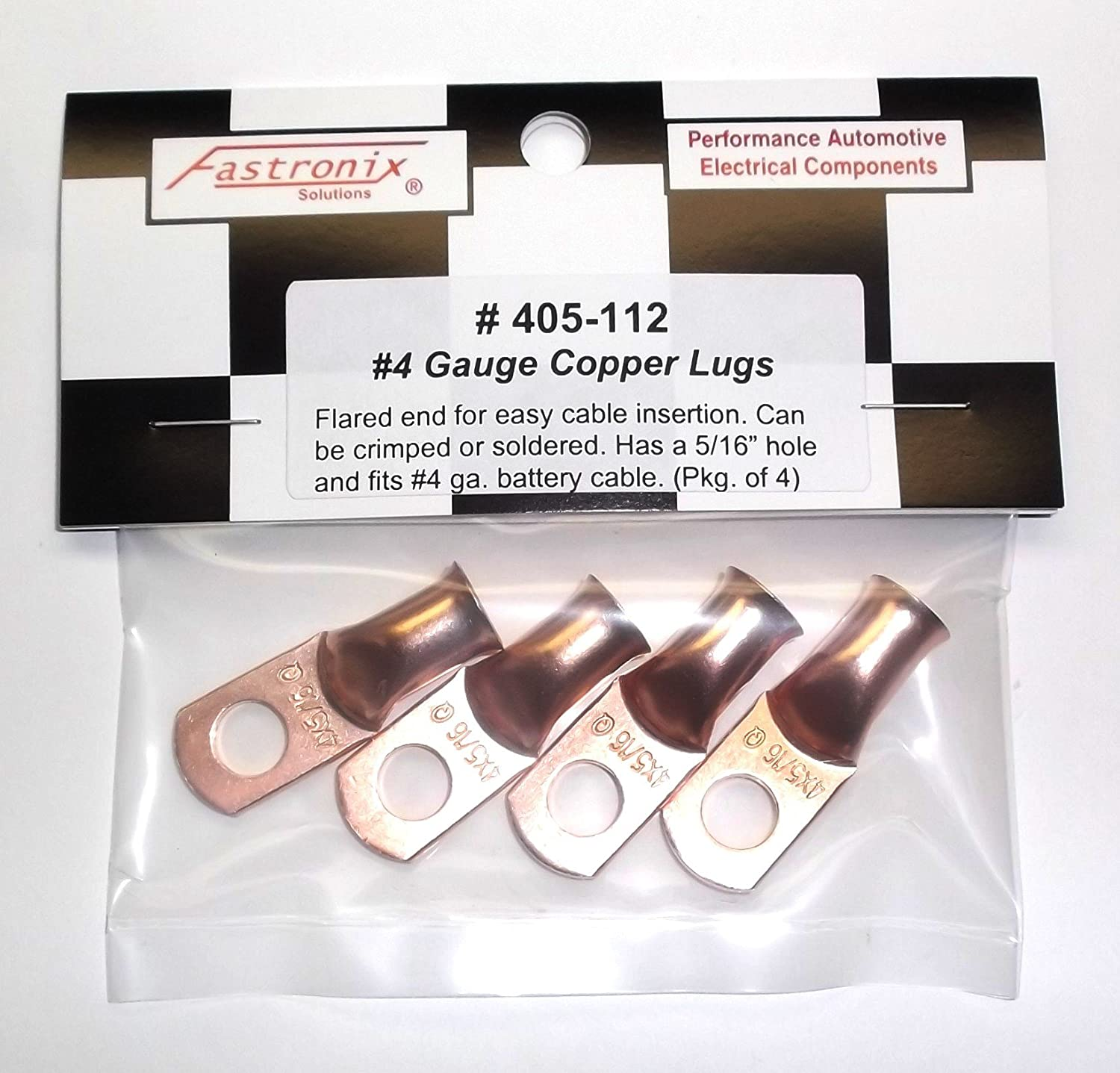 Fastronix Quality Copper Battery Terminal Lugs 4 Pack 5//16 2 Gauge