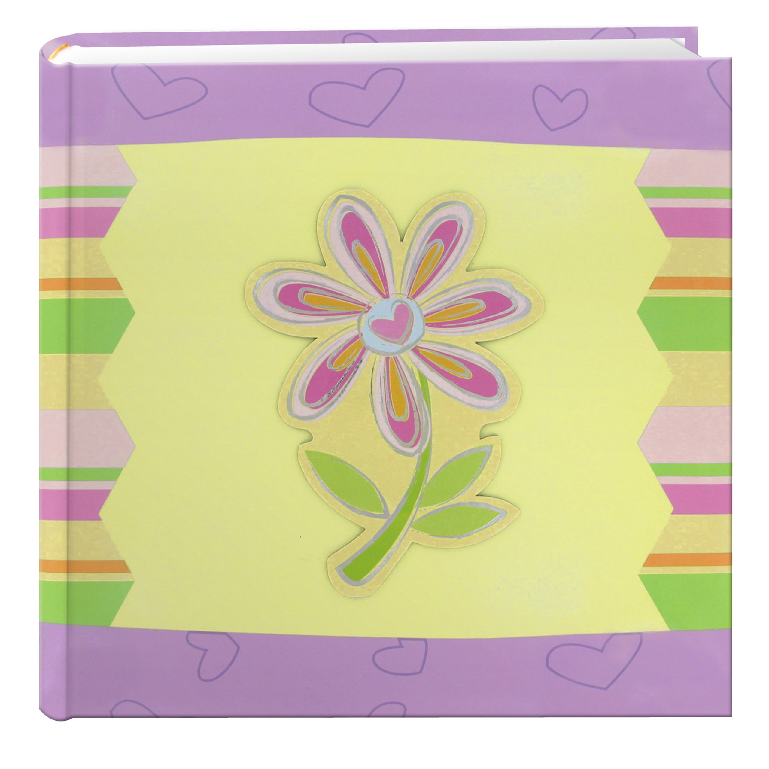 Pioneer Photo Albums 200-Pocket 3-D Striped Flower Applique Cover Photo Album, 4 by 6-Inch