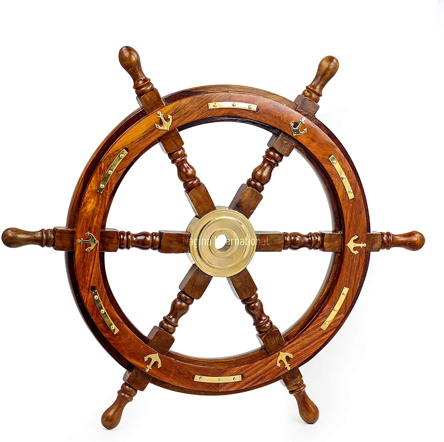 Nagina International Nautical Premium Sailor's Hand Crafted Brass & Wooden Ship Wheel   Luxury Gift Decor   Boat Collectibles (24 Inches, Anchor & Strip)