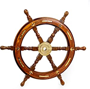 Nagina International Nautical Premium Sailor's Hand Crafted Brass & Wooden Ship Wheel | Luxury Gift Decor | Boat Collectibles (24 Inches, Anchor & Strip)