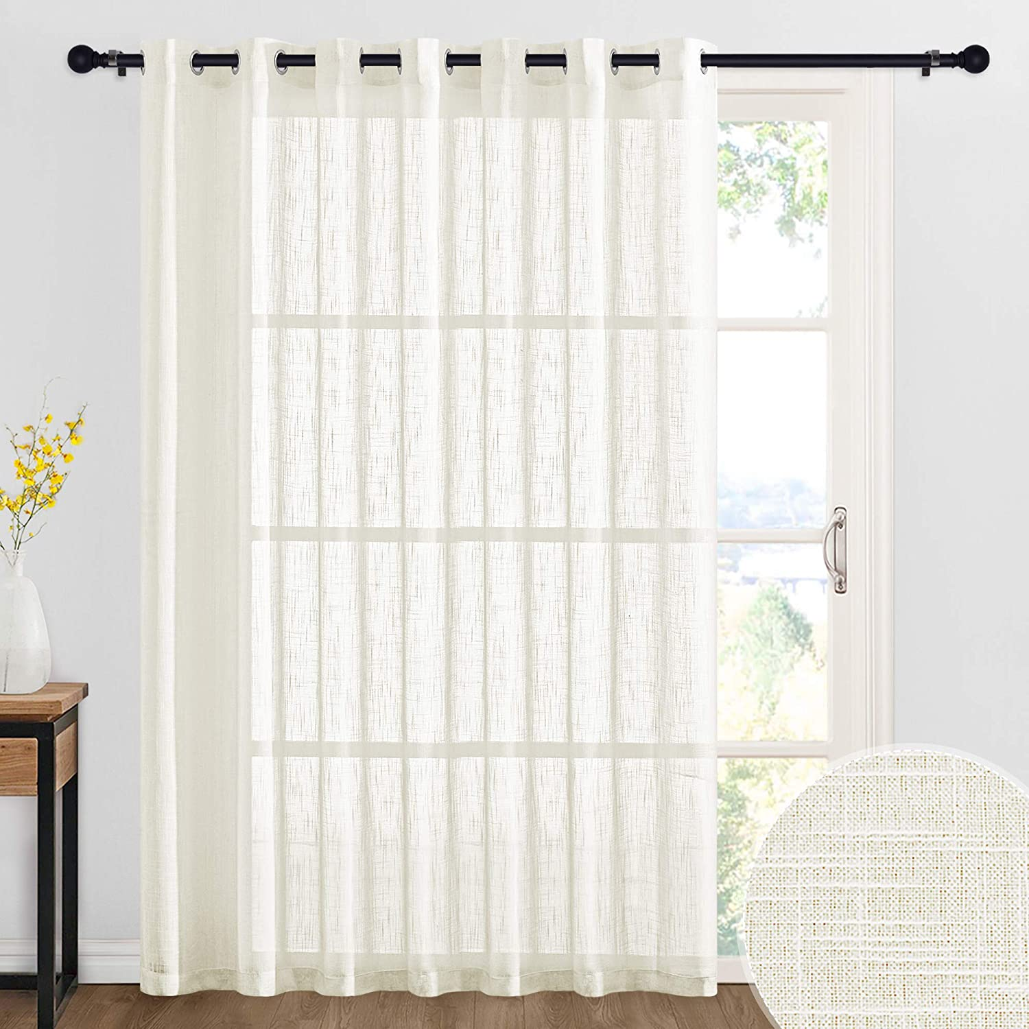 RYB HOME Curtains for Large Window Decor Linen Textured Semi Sheer Privacy Curtains for Bedroom Living Room Sheer Backdrop Canopy Bed Curtains, W 100 x L 84 inch, 1 Panel, Natural