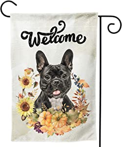 Double-Sided Outdoor Garden Flag - Welcome Black Boston terrier with Flower House Yard Flag, Weather Resistant Home Decorative Colorful Dog Design Primitive Yard Decor for Patio Lawn 12 x 18 in