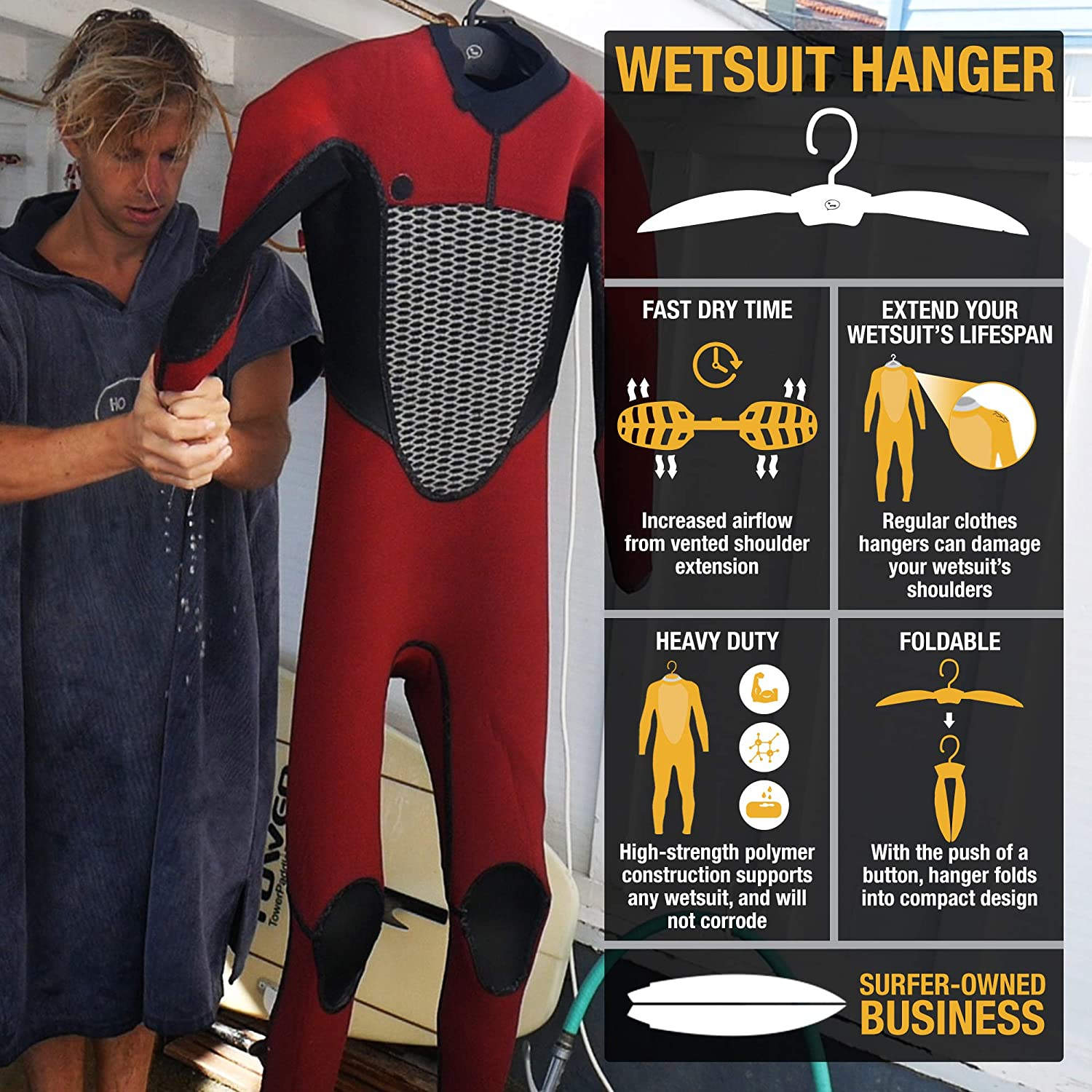 Ho Stevie Wetsuit Hanger – Fast Dry Folding Vented Hanger for Surfing and Scuba Diving Wet Suits