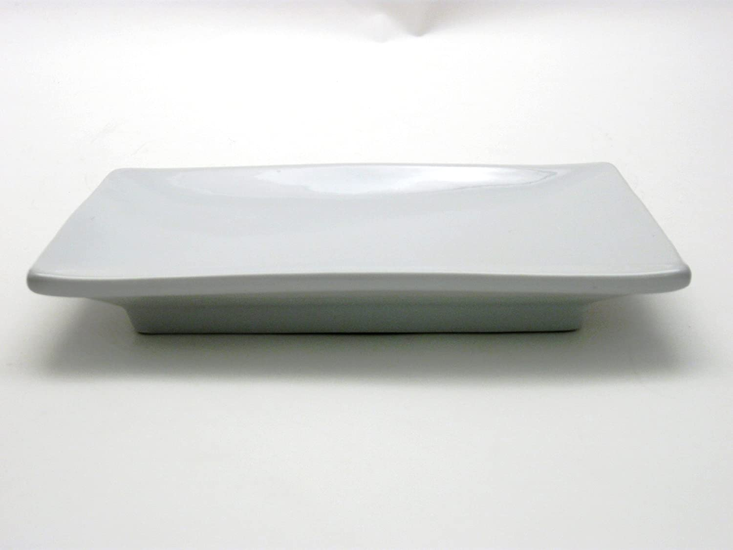 Honey-Can-Do 8070 Porcelain Sushi Plate, White, 8-Inches x 5.5-Inches
