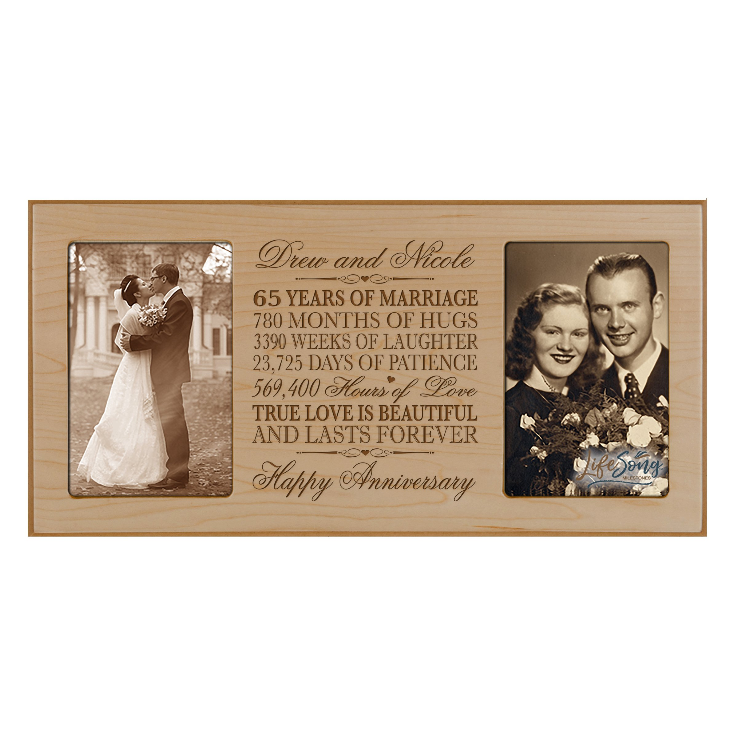 LifeSong Milestones Personalized 65 Year her him Couple Custom Engraved Wedding Celebration for Husband Wife Girlfriend Boyfriend Photo Frame Holds Two 4x6 Photos (Maple)