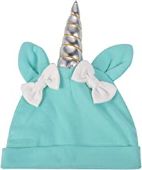 9bb8ad676ec Lux Accessories Unicorn Blue Baby Unicorn Warm Bow Hats Infant Kid Beanie  Hat