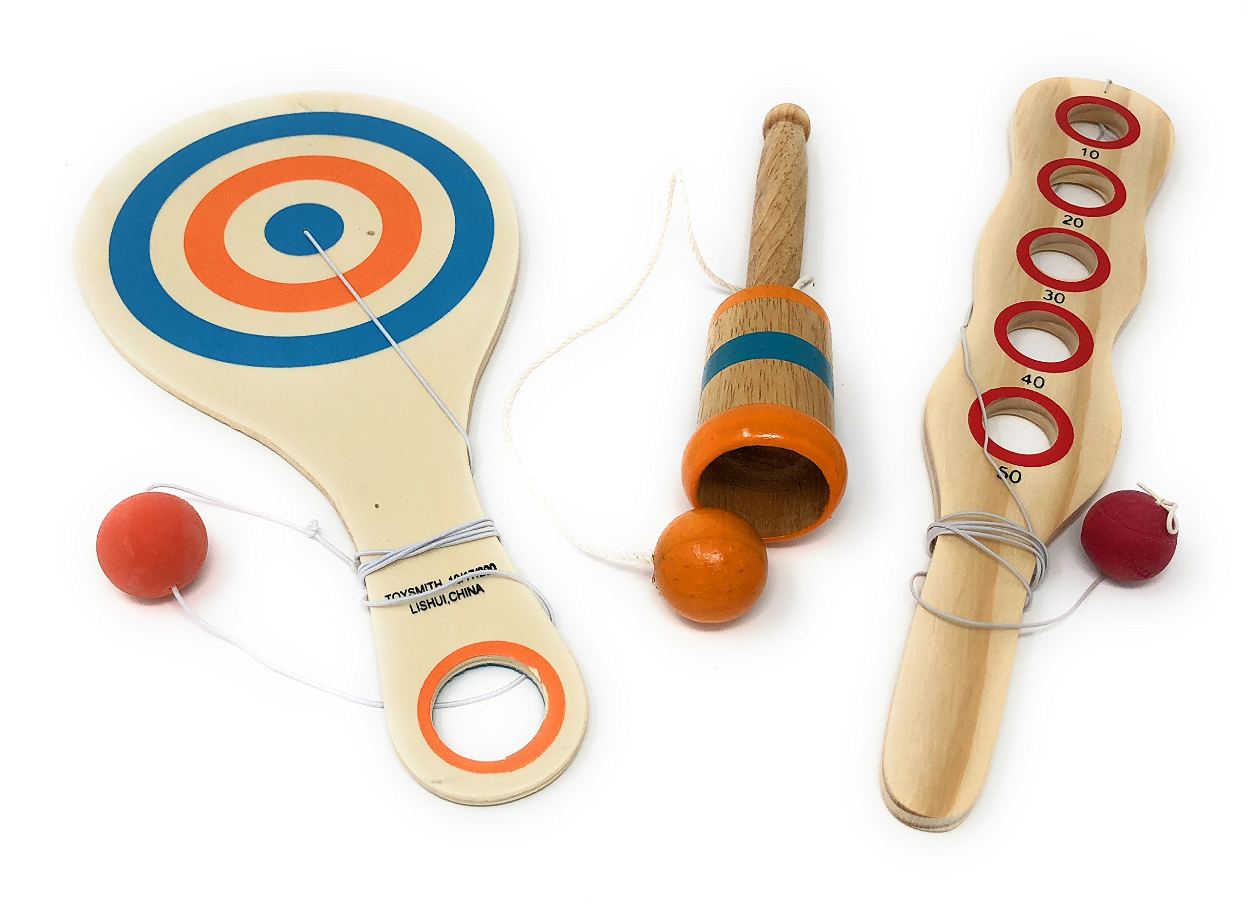 Toysmith Wooden Classic Game Collection Bundle – Wooden Catch Ball, Bounce Back Paddle Ball, and Wood Paddle Game (Color May Vary)