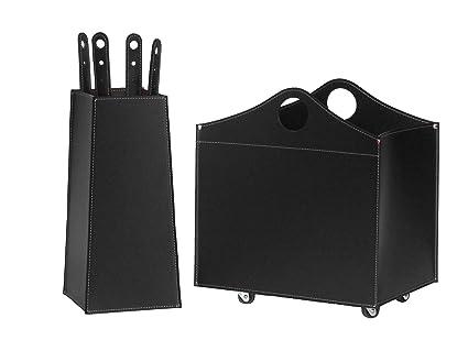 BOCAD: Set para chimenea y estufas en cuero de color Negro compuesto por Porta Leña