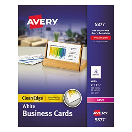 Amazon avery white clean edge two sided laser business cards avery white clean edge two sided laser business cards 2 x 35 inches box reheart Images