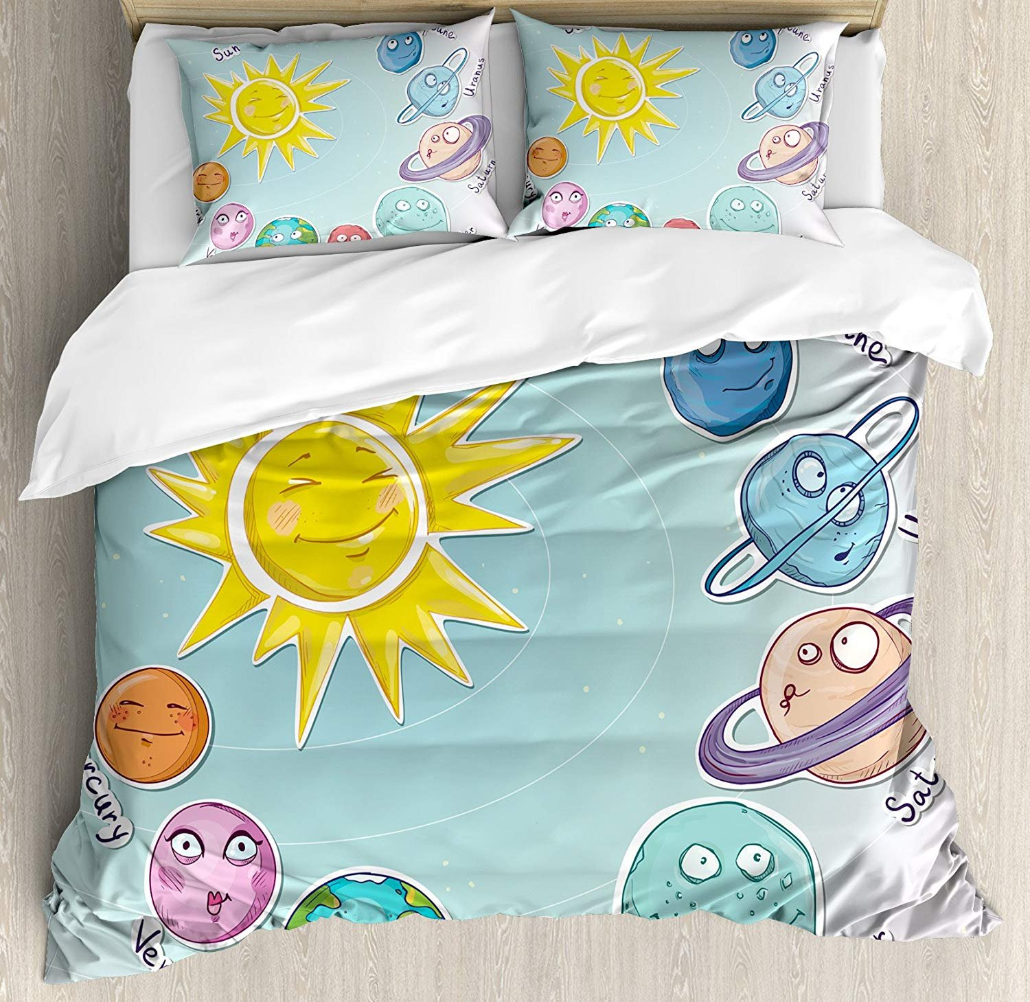 Space Twin Duvet Cover Sets 4 Piece Bedding Set Bedspread with 2 Pillow Sham, Flat Sheet for Adult/Kids/Teens, Cute Cartoon Sun and Planets of Solar System Fun Celestial Chart Baby Kids Nursery Theme