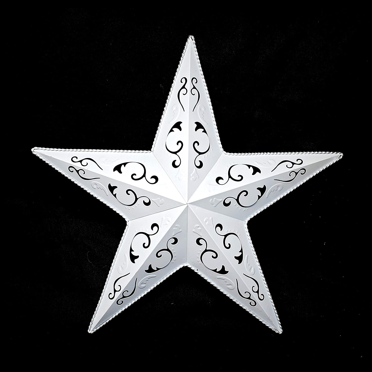 """WHITE LACY METAL BARN STAR 18"""" - rustic cut out style country indoor outdoor Christmas home decor. Interior exterior lacey metal stars decorations look great hanging on house walls fence porch"""