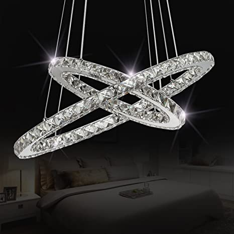 Amazon sefinn four crystal chandeliers modern led ceiling light sefinn four crystal chandeliers modern led ceiling light flush mount pendant white 158quot and aloadofball Image collections