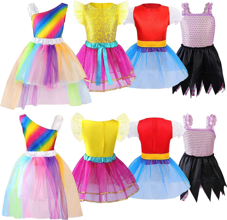 Girls Dress up Trunk Princess Set, Jeowoqao 24 PCS Pretend Play Costume Set, Fairytale, Supergirl, Princess, Rainbow Unicorn Costume for Toddler/Little Girls Ages 3-5yrs: Clothing