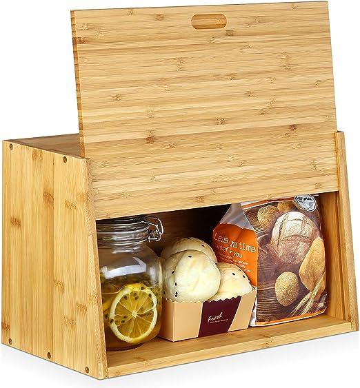 Homfa Soporte para pan, para cocina, panera, panera, caja de bambú ...